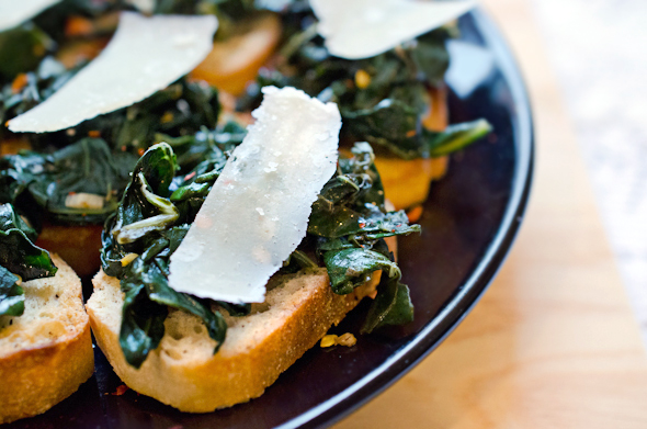 Kale and Parmesan Crostini