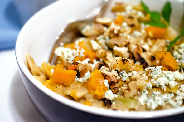 Butternut Squash Pasta with Blue Cheese and Walnuts